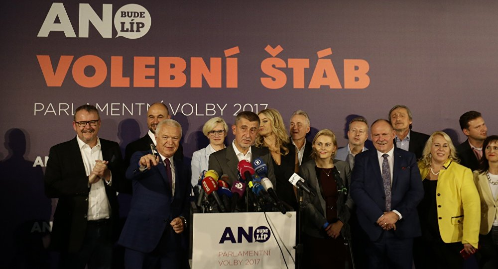 The leader of ANO party Andrej Babis with his fellow party members attends a news conference at the party's election headquarters after the country's parliamentary elections in Prague, Czech Republic October 21, 2017