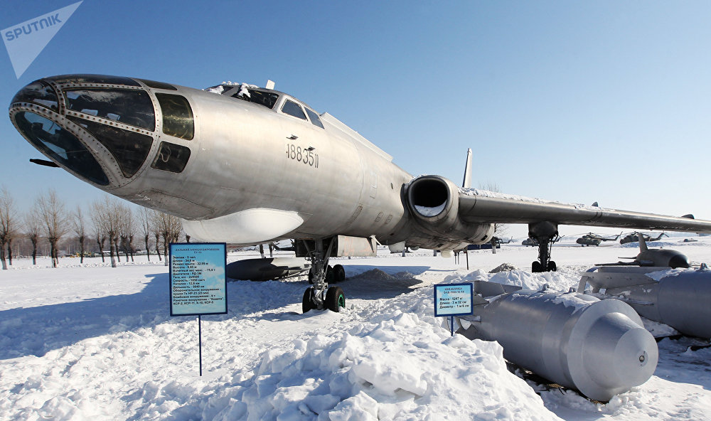 Long-range bomber Tu-16 at the Military planes museum on the Dyagilevo airfield