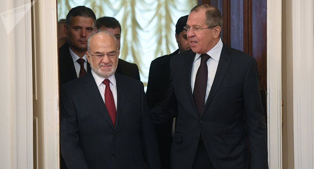 Foreground, from right: Russian Foreign Minister Sergei Lavrov and his Iraqi counterpart Ibrahim al-Jaafari during a meeting in Moscow