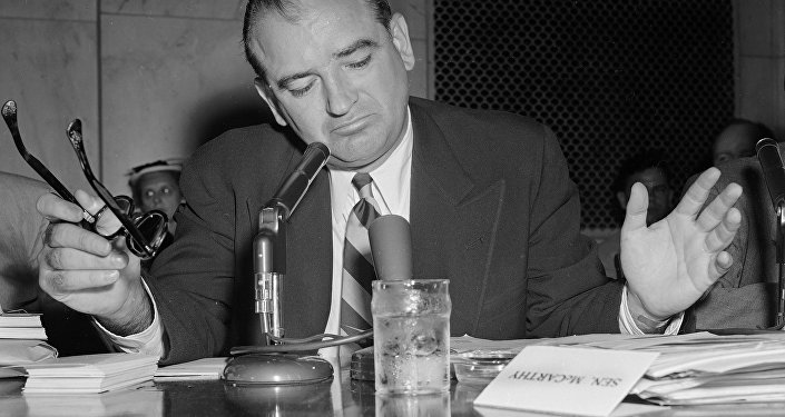 Sen. Joe McCarthy gestures as he indicates he is not impressed with an answer by Army Secretary Robert Stevens during a hearing, May 3, 1954.