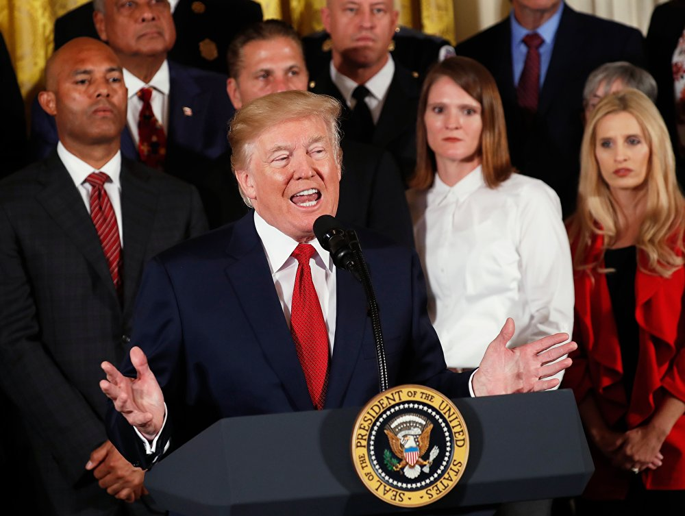 President Donald Trump speaks about administration plans to combat the nation's opioid crisis in the East Room of the White House in Washington, U.S., October 26, 2017.