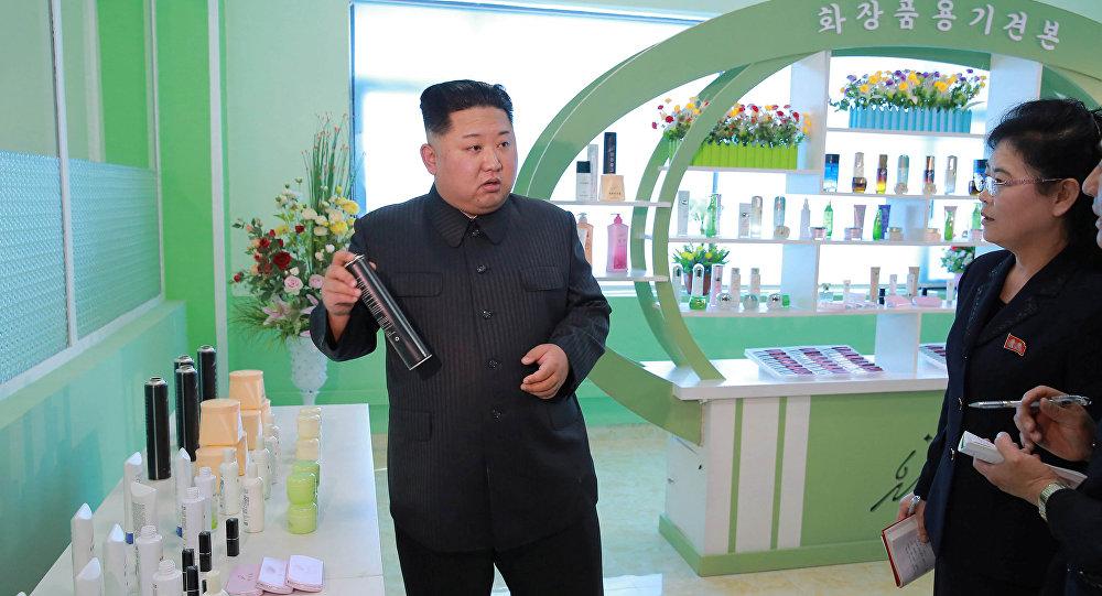 North Korean leader Kim Jong Un visits a cosmetics factory in Pyongyang