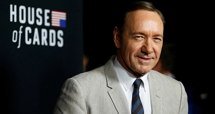 Cast member Kevin Spacey poses at the premiere for the second season of the television series House of Cards at the Directors Guild of America in Los Angeles, California. (File)