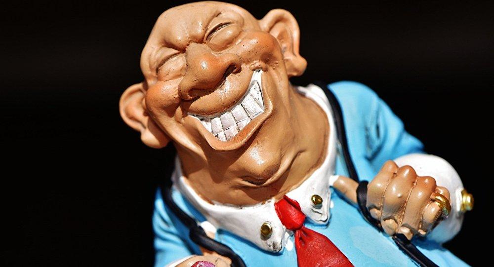 A figure representing a greedy businessman