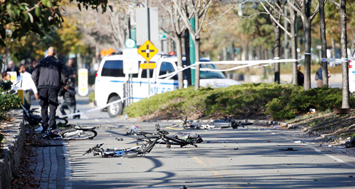 Multiple bikes are crushed along a bike path in lower Manhattan in New York, NY, U.S., October 31, 2017.