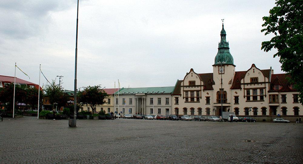 Main square in Karlshamn, Sweden