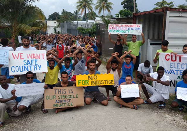 Asylum seekers protest on Manus Island, Papua New Guinea, in this picture taken from social media November 3, 2017
