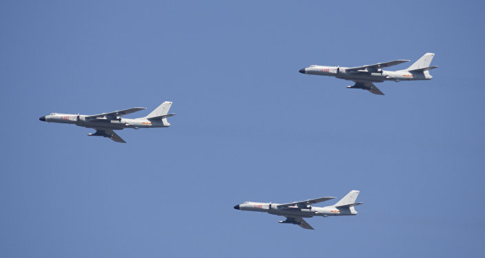 H-6K cruise missile carriers fly in formation during a parade commemorating the 70th anniversary of Japan's surrender during World War II in Beijing, Thursday, Sept. 3, 2015. The spectacle involved more than 12,000 troops, 500 pieces of military hardware and 200 aircraft of various types, representing what military officials say is the Chinese military's most cutting-edge technology