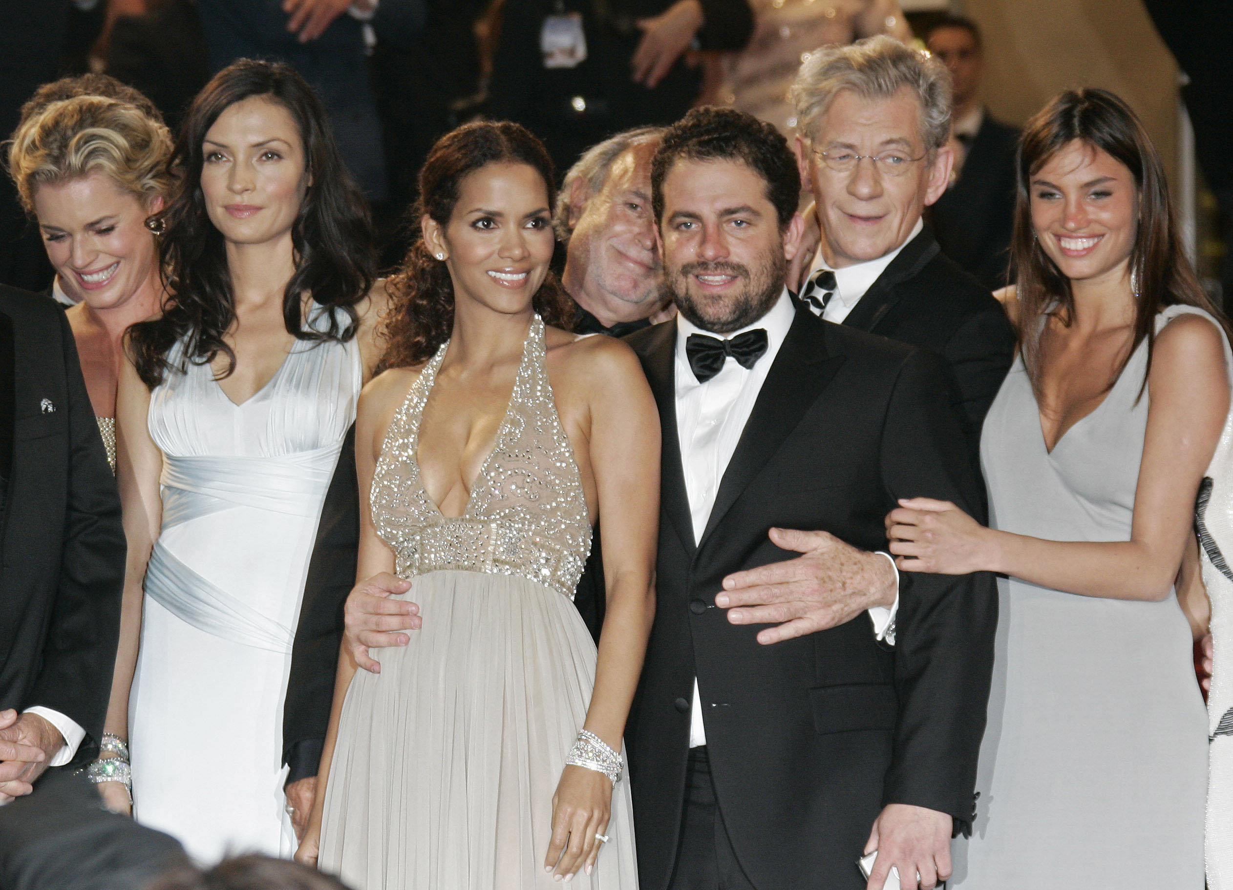 From left, American actress Rebecca Romijn, Dutch actress Famke Janssen, American actress Halle Berry, American director Brett Ratner, British actor Ian McKellen, and unidentified guest arrive for the screening of the film X-Men: The Last Stand, at the 59th International film festival in Cannes, southern France, on Monday, May 22, 2006