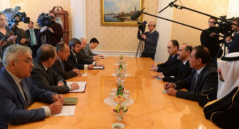 Foreign Minister Sergei Lavrov's meeting with leader of the Syrian opposition group Syria's Tomorrow Ahmad Jarba in Moscow