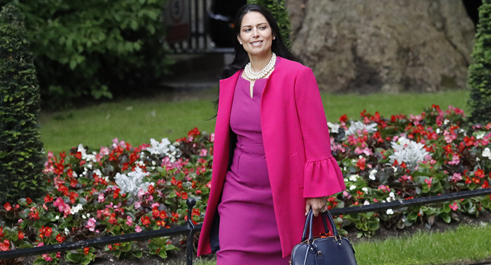 Priti Patel, Secretary of State for International Development, arrives for a cabinet meeting after the general election in London, Monday, June 12, 2017.