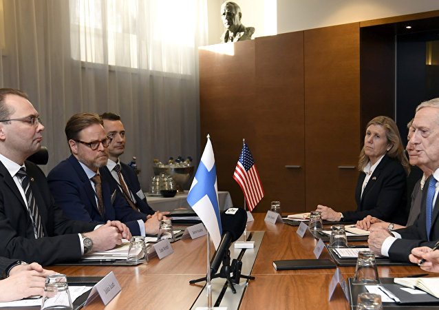 U.S. Secretary of Defense James Mattis and Finnish Defence Minister Jussi Niinisto (L) attend a bilateral meeting in Helsinki, Finland, November 7, 2017