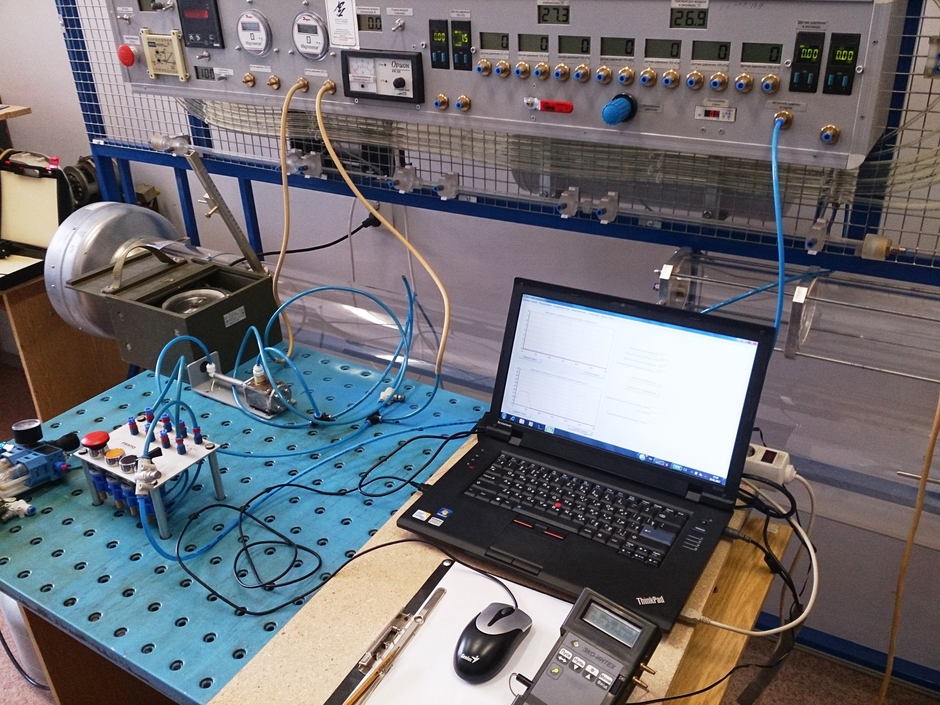 Studying characteristics of a vortex diode while using air as process fluid