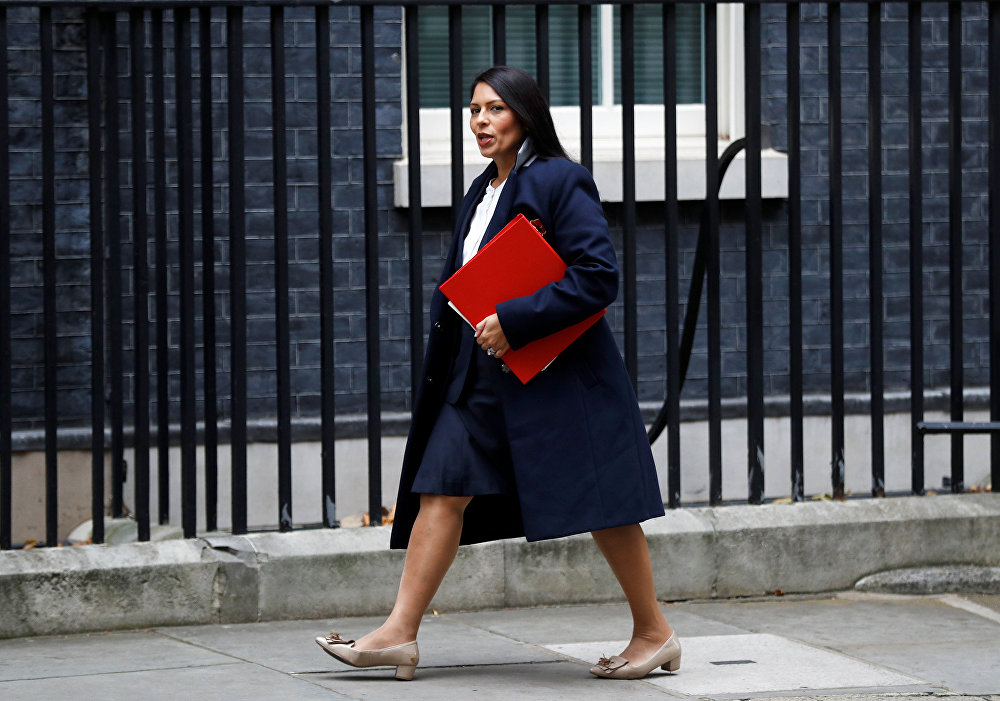 Priti Patel, then Britain's Secretary of State for International Development arrives in Downing Street, in London, October 31, 2017