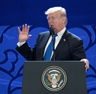 U.S. President Donald Trump speaks at the Asia-Pacific Economic Cooperation (APEC) CEO Summit at the Aryana Convention Center in Danang, Vietnam, Friday, Nov. 10, 2017