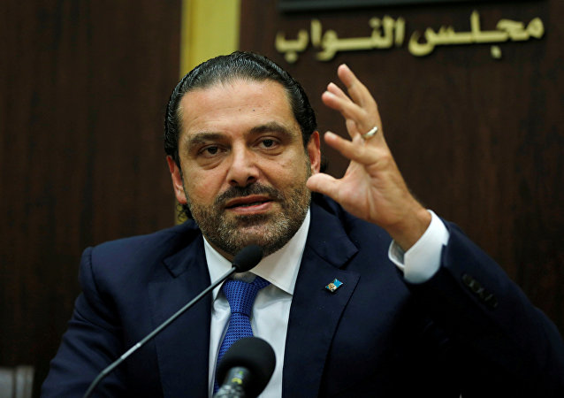 Lebanon's prime minister Saad al-Hariri gestures during a press conference in parliament building at downtown Beirut, Lebanon October 9, 2017