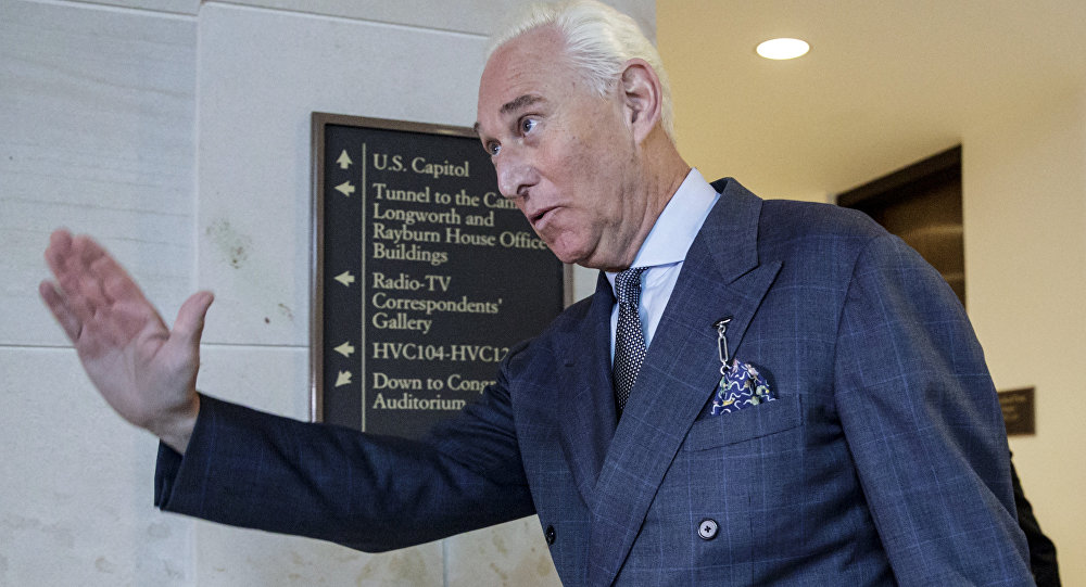 Longtime Donald Trump associate Roger Stone arrives to testify before the House Intelligence Committee, on Capitol Hill, Tuesday, Sept. 26, 2017, in Washington.