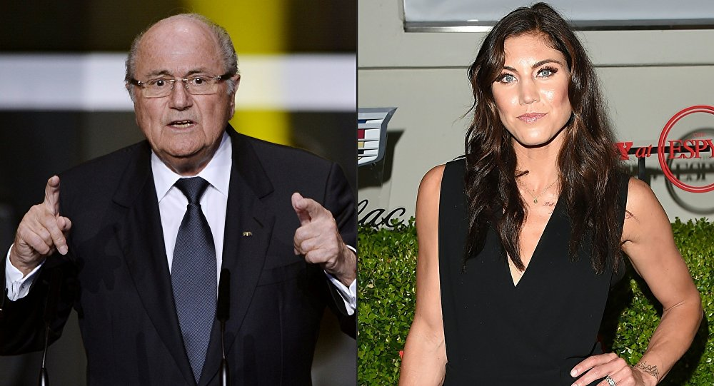 This combination of pictures created on November 11, 2017 shows FIFA then President Joseph Blatter (L) speaking at the start of the FIFA Ballon d'Or awards ceremony at the Kongresshaus in Zurich on January 7, 2013 and USA women's national football team goalkeeper Hope Solo attending BODY at ESPYs at Milk Studios on July 14, 2015 in Hollywood, California