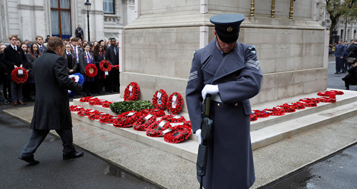 A member of the RAF Regiment guards the cenotaph as wreaths are laid at service to remember servicemen and women killed conflict, in London, Britain November 11, 2017