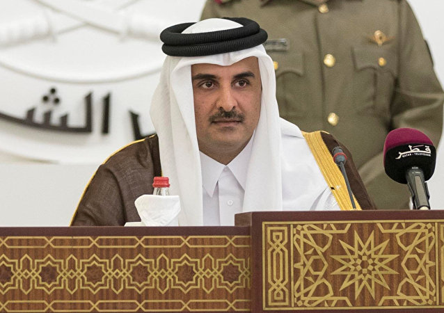 QatarÕs Emir Sheikh Tamim bin Hamad al-Thani is seen as he speaks to members of Qatar's Shoura Council in Doha, Qatar