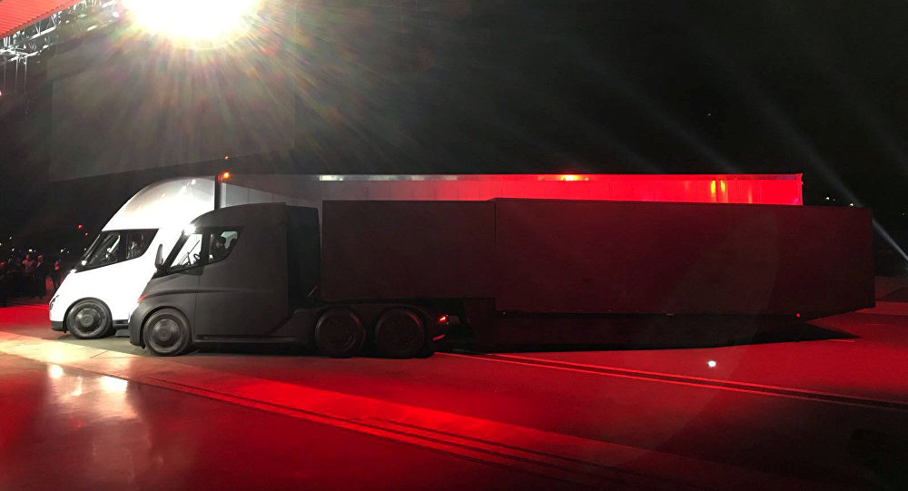 Tesla's new electric semi truck is unveiled during a presentation in Hawthorne, California, U.S