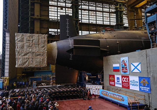 Launching Knyaz Vladimir nuclear-powered submarine cruiser in Severodvinsk