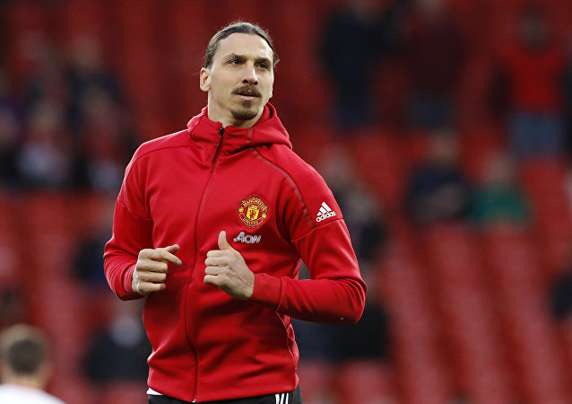 Manchester United's Zlatan Ibrahimovic warms up before the English Premier League soccer match between Manchester United and Everton at Old Trafford in Manchester, England, Tuesday April 4, 2017