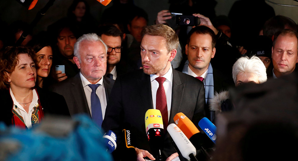 Chairman of the Free Democratic Party (FDP) Christian Lindner, and party members Wolfgang Kubicki and Nicola Beer speak to the press during the exploratory talks about forming a new coalition government in Berlin, Germany, November 19, 2017