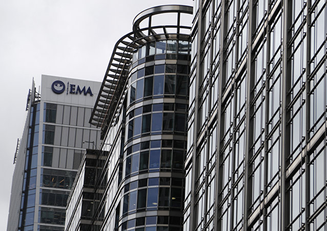 The headquarters building of the European Medicines Agency, EMA, left, in London. Brexit is still well over year away but two cities on Monday, Nov. 20, 2017 will already be celebrating Britain's departure from the European Union