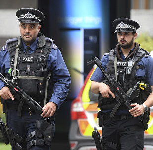 Armed police at the scene on Cromwell Gardens in London, after a car reportedly ploughed into people outside the Natural History Museum in London, Saturday Oct. 7, 2017.