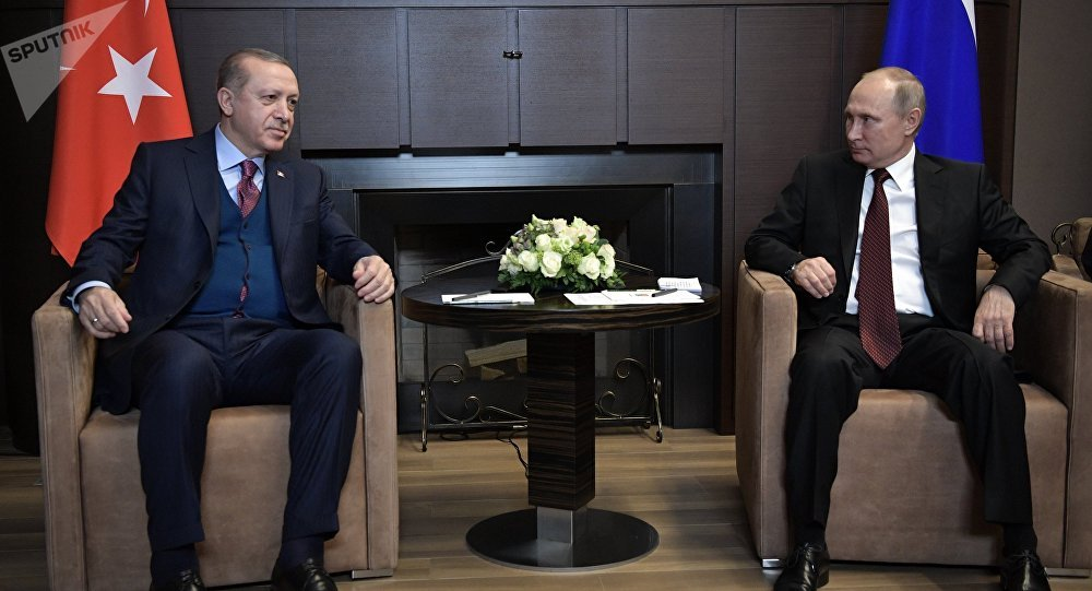 November 13, 2017. Russian President Vladimir Putin and Turkish President Recep Tayyip Erdogan (left) during the meeting