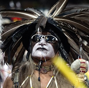 A Native American dancer participates during the Grand Entry of the 43rd Annual Denver March Powwow held at the Denver Coliseum on March 25, 2017 in Denver, Colorado