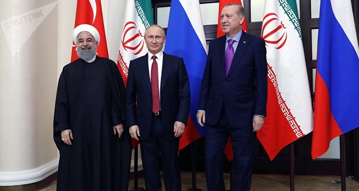 Meeting of Russian President Vladimir Putin, President of Iran Hassan Rouhani and President of Turkey Recep Tayyip Erdogan