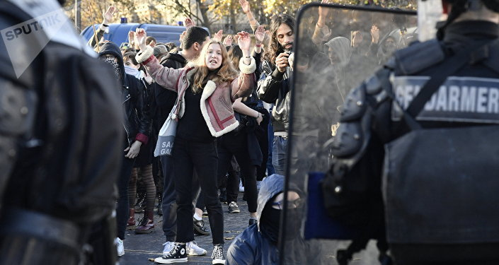 A protest against changes to France's university admission rules, Paris