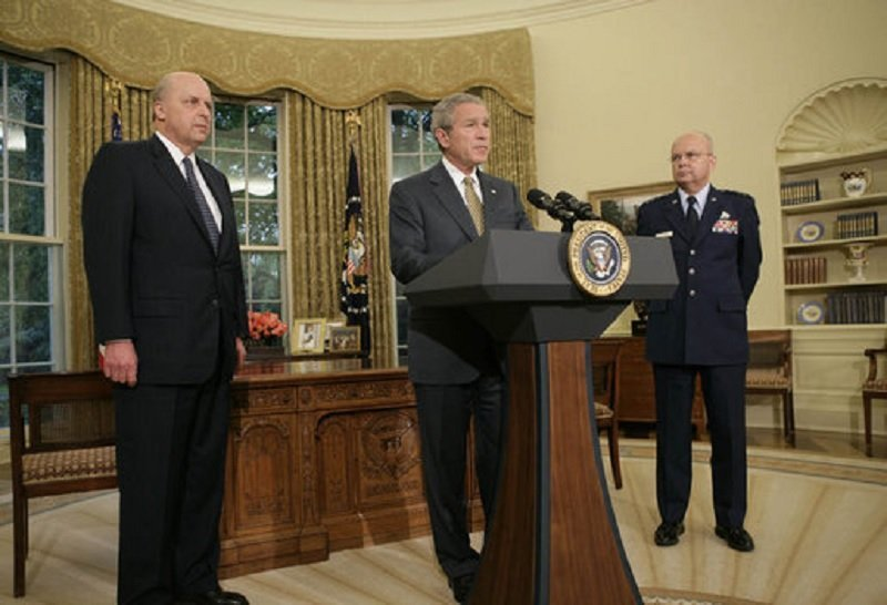 President George W. Bush announces his nomination of Gen. Michael Hayden as the next Director of the Central Intelligence Agency Monday, May 8, 2006, in the Oval Office. (File)