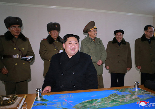 North Korea's leader Kim Jong Un is seen as the newly developed intercontinental ballistic rocket Hwasong-15's test was successfully launched, in this undated photo released by North Korea's Korean Central News Agency (KCNA) in Pyongyang November 30, 2017