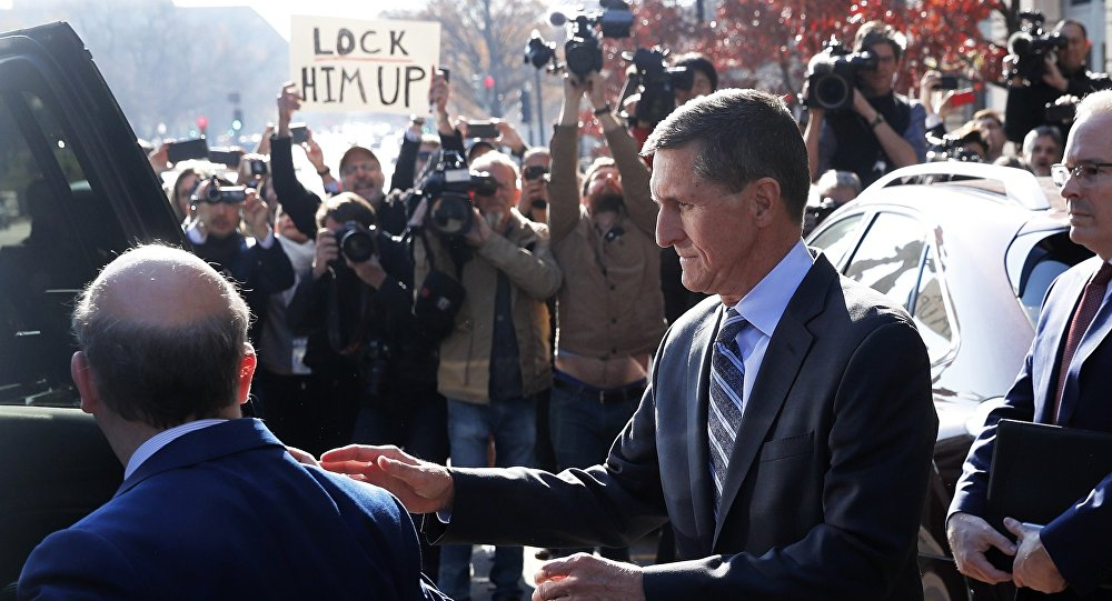 Former U.S. National Security Adviser Michael Flynn departs U.S. District Court after pleading guilty to lying to the FBI about his contacts with Russia's ambassador to the United States in Washington U.S
