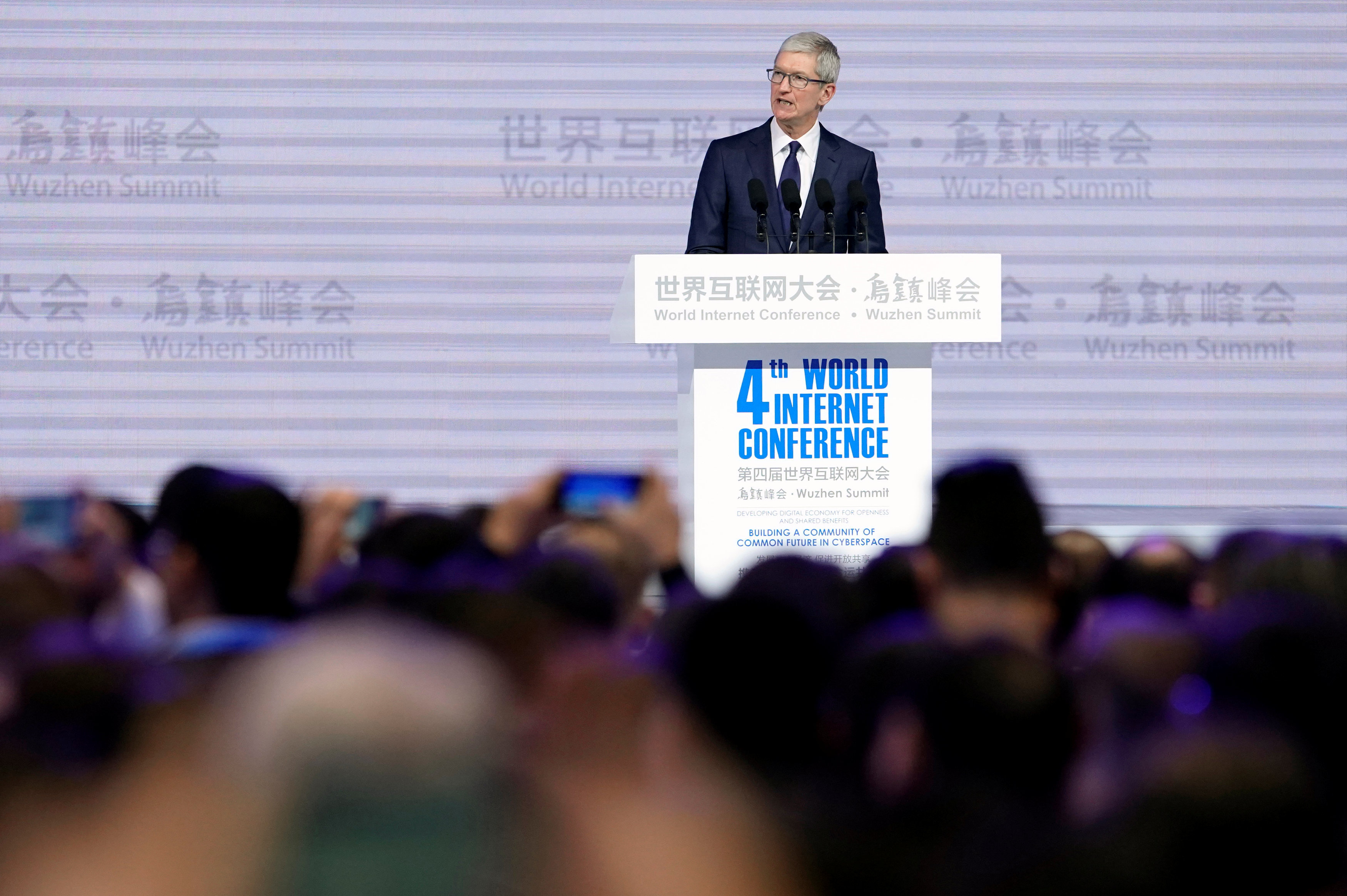 Apple CEO Tim Cook attends the opening ceremony of the fourth World Internet Conference in Wuzhen, Zhejiang province, China, December 3, 2017