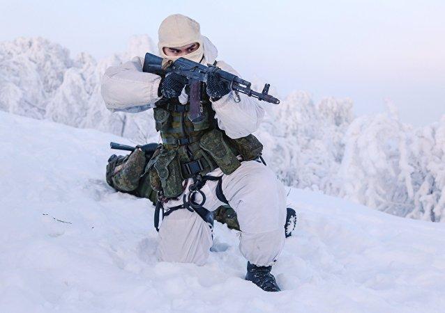 Training grounds for Naval Infantry in Murmansk region