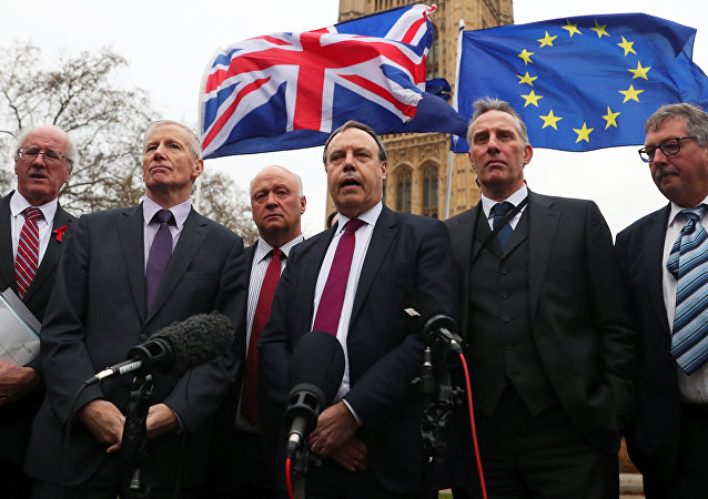 Anti-Brexit protesters hold flags as Nigel Dodds, deputy leader of the Democratic Unionist Party speaks, flanked by other DUP MP's, outside the Houses of Parliament, London, Britain December 5, 2017.