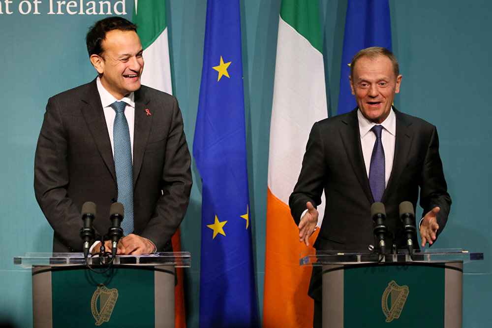 European Council President Donald Tusk (R) and Ireland's Prime Minister (Taoiseach) Leo Varadkar address a joint press conference at the Government buildings in Dublin