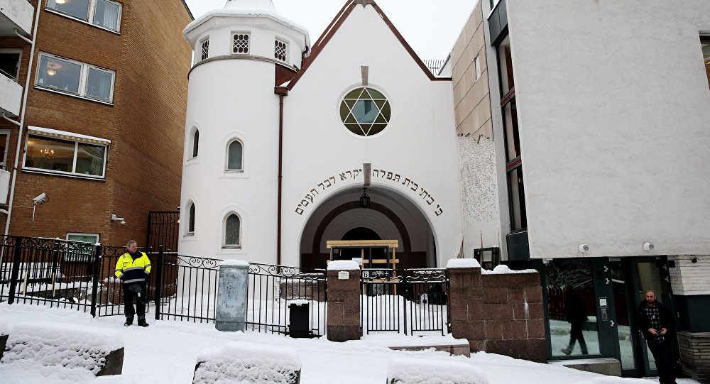 This photo taken on Jaunuary 12, 2015 shows the Oslo Synagogue