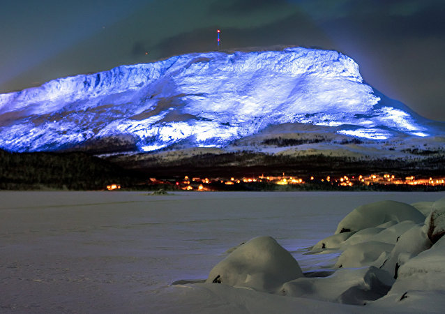 The Saana fell is lighted as part of the Luminous Finland 100 project, a light art event that will be held in honour of the 100th anniversary of Finland's independence, in Kilpisjarvi, Finland December 4, 2017