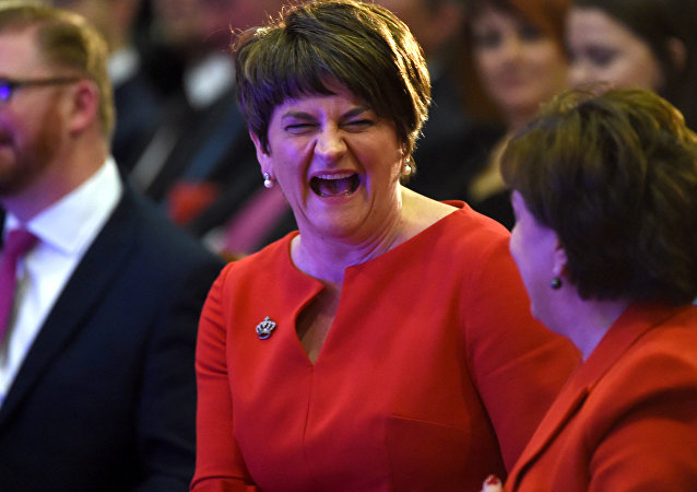 DUP leader Arlene Foster reacts during her party's annual conference in Belfast, Northern Ireland, November 25, 2017.