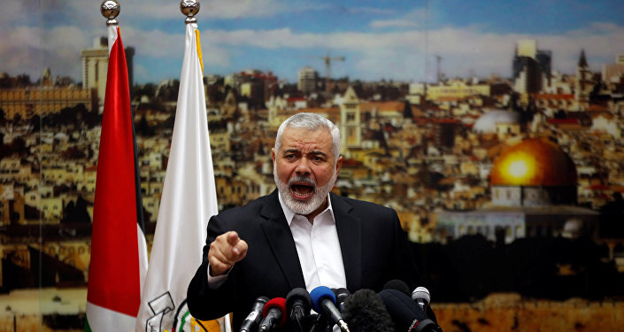 Hamas Chief Ismail Haniyeh gestures as he delivers a speech over U.S. President Donald Trump's decision to recognize Jerusalem as the capital of Israel in Gaza City