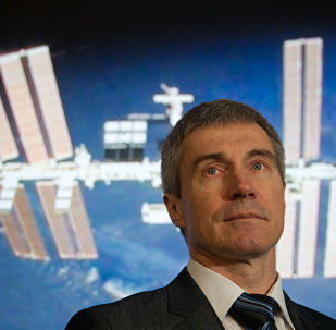 Cosmonaut Sergei Krikalev in the Kosmotsentre Yuri Gagarin cosmonaut training center.