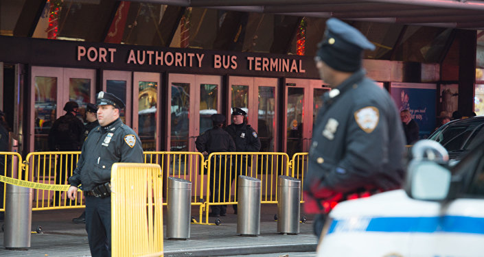 Police respond to a reported explosion at the Port Authority Bus Terminal on December 11, 2017 in New York