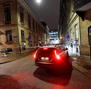 Police is seen at the site of an attack near a synagogue in Gothenburg, Sweden December 9, 2017