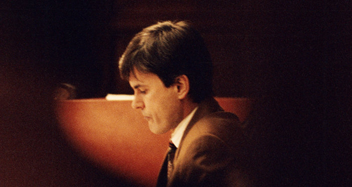 This file picture shows John Ausonius pictured during a trial in Stockholms district court on February 2, 1995