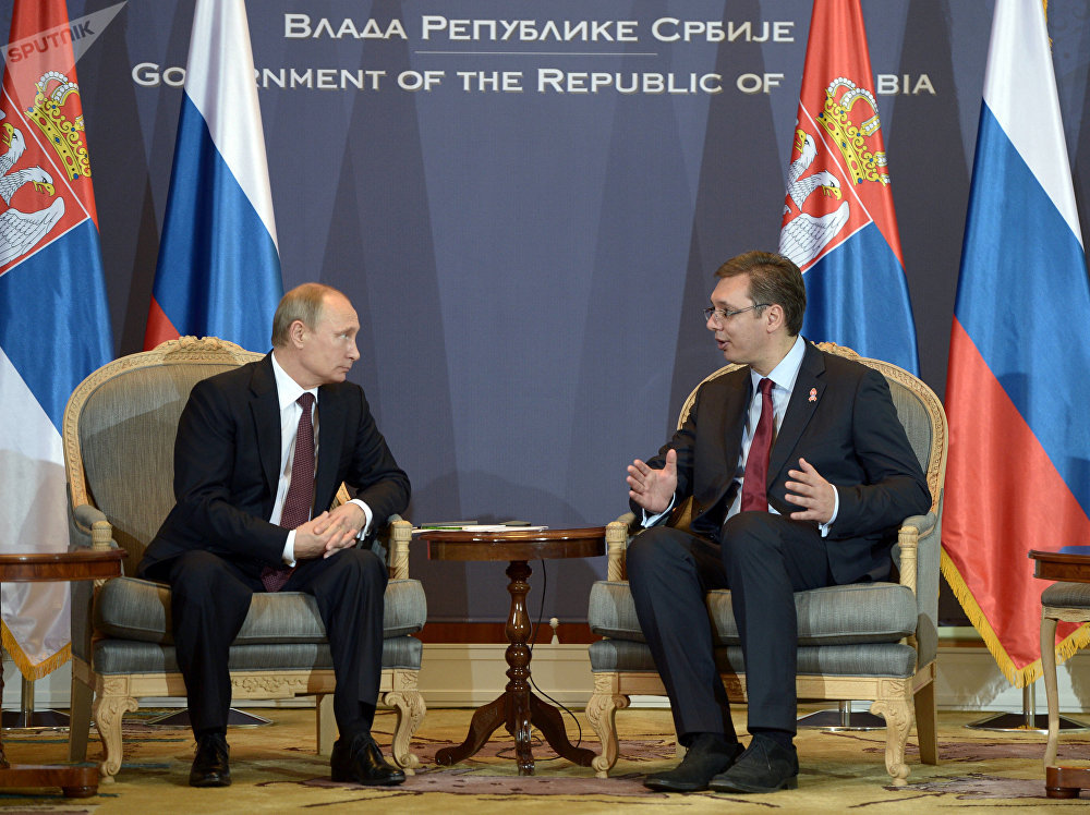 Vladimir Putin with Aleksandar Vucic during the Russian president's visit to Serbia (File photo)
